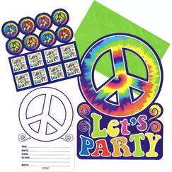 Tye Dye Feeling Groovy Invitations Kit for 8