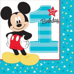 Large Mickey Mouse 1st Birthday Napkins - pk16