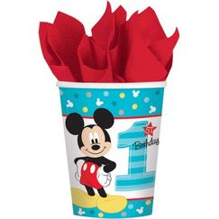 Mickey Mouse 1st Birthday Cups - pk8