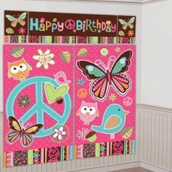 Hippie Chick Birthday Wall Decorating Kit