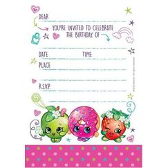 Shopkins Party Invitations for 8