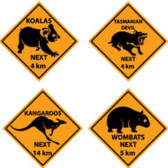 Outback Road Sign Cut-outs - pk4