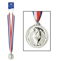 Silver Sports Medal With Ribbon - Each