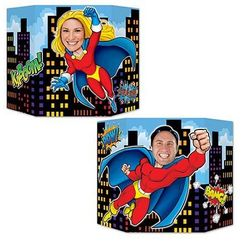 Double Sided Superhero Photo Op Prop Stand Up