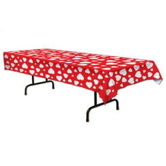 Red with White Hearts Tablecloth