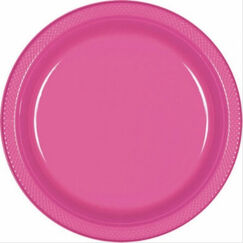 Bright Pink Plastic Snack Plates - pk20