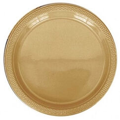 Gold Plastic Snack Plates - pk20