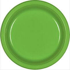 Lime Green Plastic Snack Plates - pk20