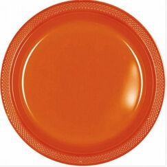 Large Orange Plastic Plates - pk20