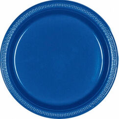 Large Bright Royal Blue Plastic Plates - pk20