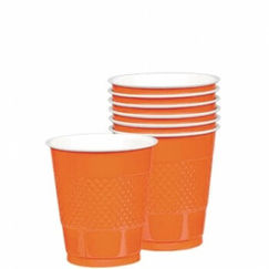 Orange Plastic Cups - pk20