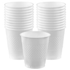 Frosty White Plastic Cups - pk20