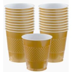 Gold Plastic Cups - pk20