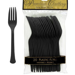 Black Heavy Duty Plastic Forks - pk20