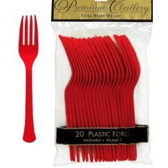 Red Heavy Duty Plastic Forks - pk20