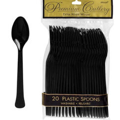 Black Heavy Duty Plastic Spoons - pk20
