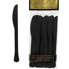 Black Heavy Duty Plastic Knives - pk20