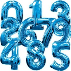 Blue Number Megaloon Balloons - choose your number