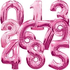 Magenta Pink Number Megaloon Balloons - choose your number