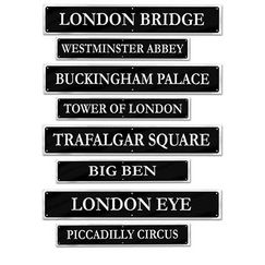 British Street Sign Cut-outs - pk4