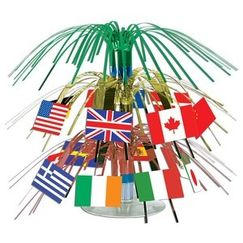 Mini 2-tier International Flags Centrepiece