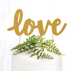 Love Gold Glitter Cake Topper Picks