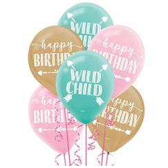 Boho Girl Wild Child Birthday Balloons - pk15