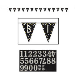 Sparkling Black Flag Banner - Add Age