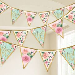 Mint To Be Floral Flag Banner