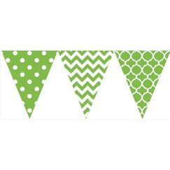 Lime Green And White Flag Banner (3.6mtrs)