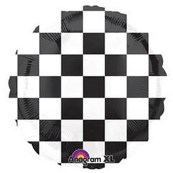 Black And White Check Foil Balloon (45cm)
