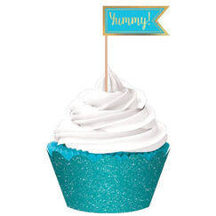 Caribbean Blue Hot Stamped Cupcake Kit for 24