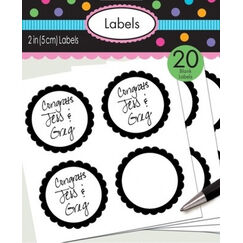 Black Scalloped Blank Label Stickers - pk20