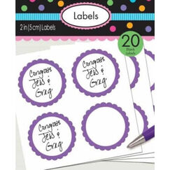 Purple Scalloped Blank Sticker Labels - pk20