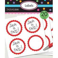 Red Scalloped Blank Sticker Labels - pk20