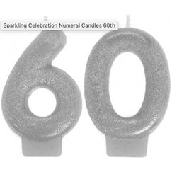 Silver Glitter 60 Candles