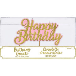 Gold Glitter & Pink Happy Birthday Candle