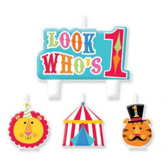 1st Birthday Circus Candles - pk4