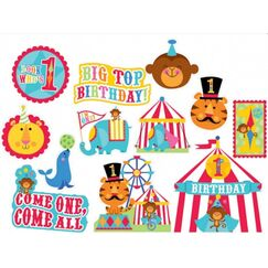 1st Birthday Circus Cut-outs - pk12