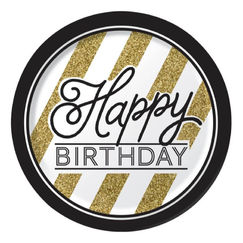 Large Black & Gold Birthday Plates - pk8