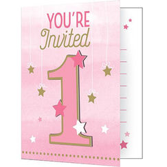 Pink Twinkle Twinkle Little Star 1 Invitations - pk8