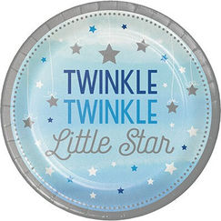 Blue Twinkle Twinkle Little Star Snack Plates - pk8