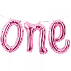 Pink One Balloon Kit - helium not needed