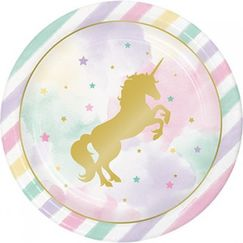 Large Unicorn Sparkle Plates - pk8