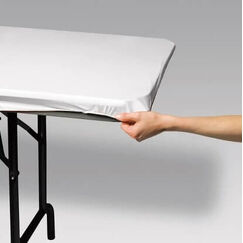 White Plastic Stay Put Tablecloth