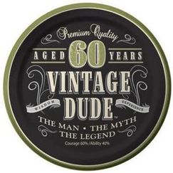 Vintage Dude 60th Snack Plates