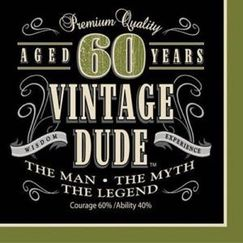 Large Vintage Dude 60th Napkins