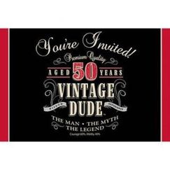 Vintage Dude 50th Party Invitations