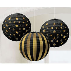 Glitz And Glam Black And Gold Lanterns - pk3
