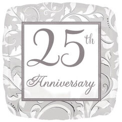 Silver Elegant Scroll 25th Anniversary Balloon (45cm)